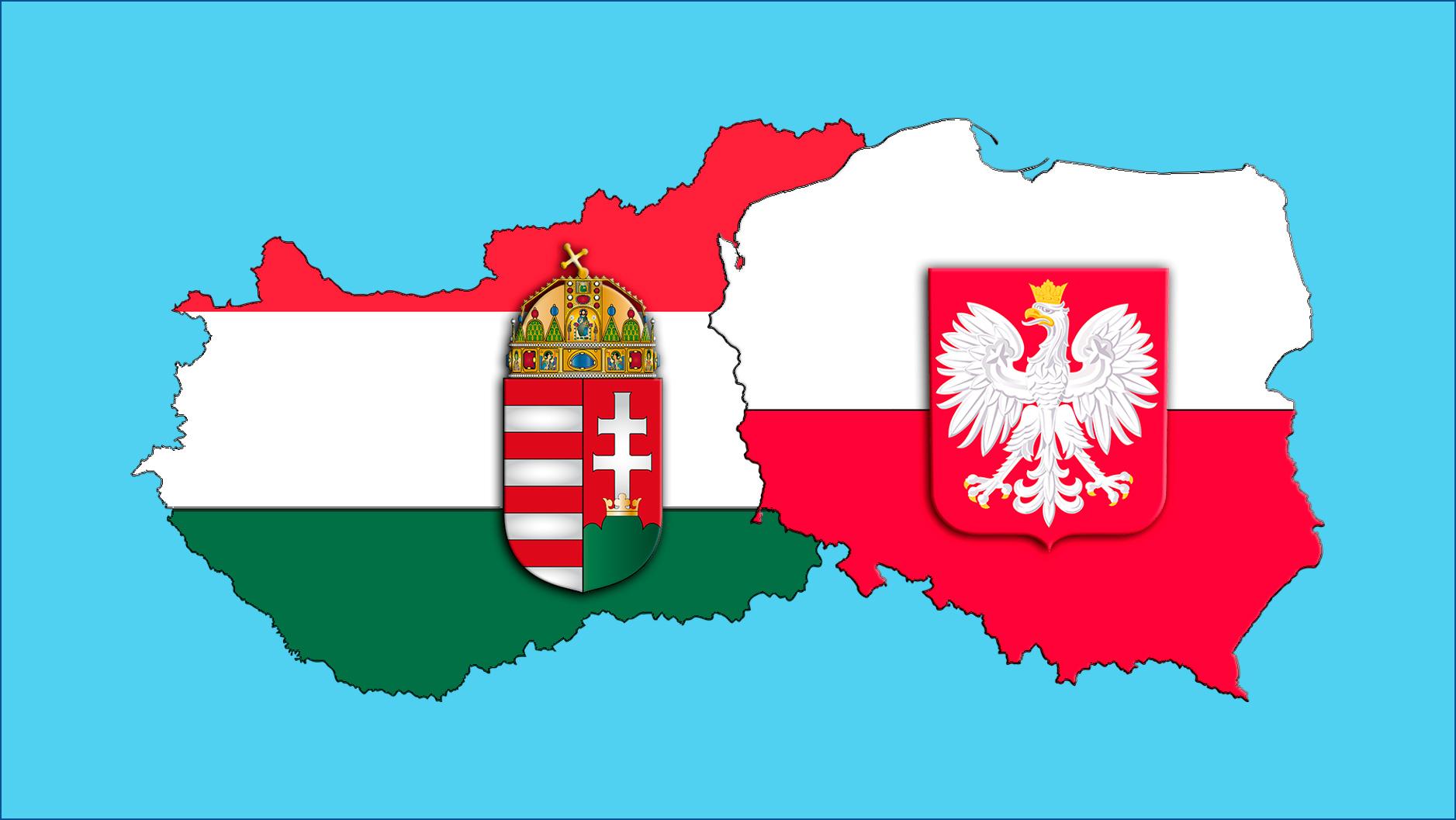 Banderas de Polonia y Hungría