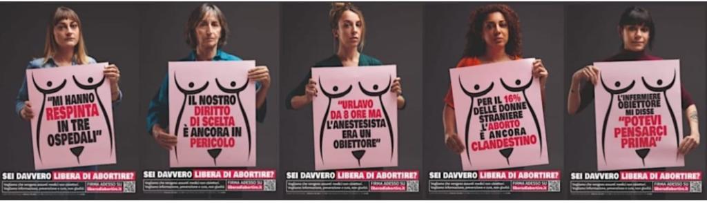 """I manifesti di """"Libera di abortire"""""""