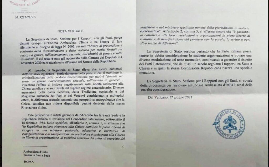 Nota verbale Santa Sede