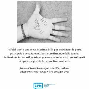Rossano Sasso, ddl Zan